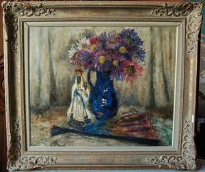 Jehan FRISON - Painting - nature morte au bouquet / vierge de Hal