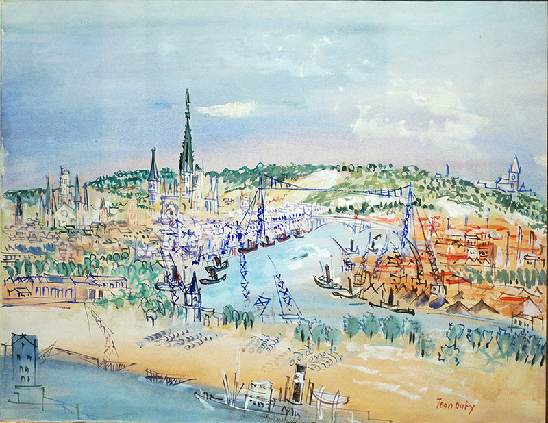 Jean DUFY - Drawing-Watercolor - Port de Rouen