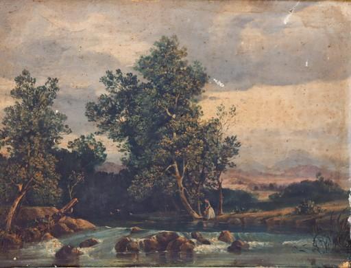 """Charles Labord LABOR - Pintura - """"JEUNE FILLE A LA RIVIERE"""""""
