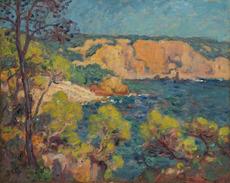Georges D'ESPAGNAT - 绘画 - Bandol dans le Var, bord de mer