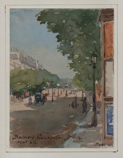 Emil BEURMANN - Dibujo Acuarela - Boulevard Poissonnière, Paris