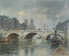 Frank Watson WOOD - 绘画 - PARIS -La CATHEDRALE NOTRE DAME depuis le pont ST MICHEL