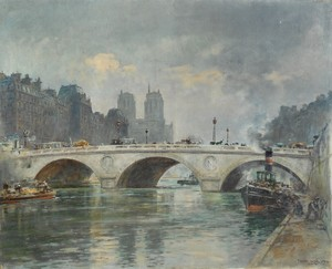 Frank Watson WOOD - Pintura - PARIS -La CATHEDRALE NOTRE DAME depuis le pont ST MICHEL