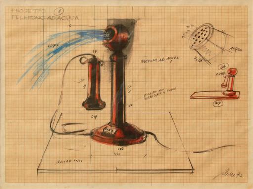 Fabrizio PLESSI - Dibujo Acuarela - Progetto telefono ad acqua