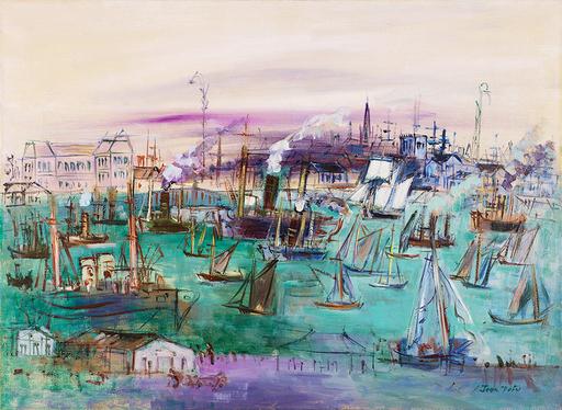 Jean DUFY - Pintura - Le Havre, bassin de la Manche vu du quai de Southampton
