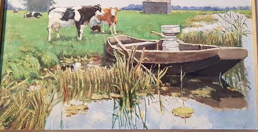 Lucas KUYS - Gemälde - La traite des vaches en hollande