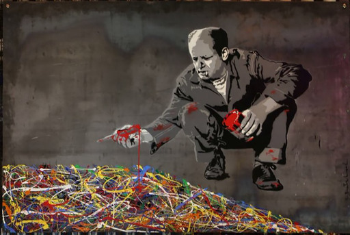 MR BRAINWASH - Pittura - Jackson Pollock (on Steel Panel)