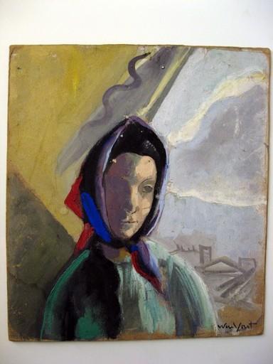 Marius WOULFART - Painting - FEMME AU FOULART