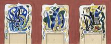 Fernand LÉGER - Drawing-Watercolor - Projets pour le manteau de la cheminée de la demeure de Nels