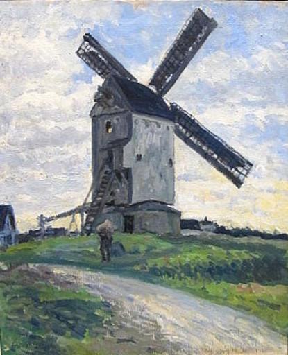 Friedrich SCHAPER - Pintura - Döser Mühle bei Cuxhaven.