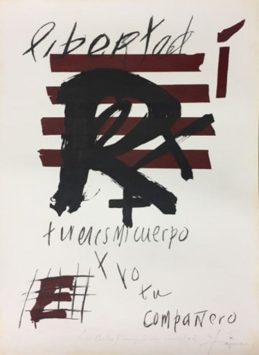 Antoni TAPIES - Drawing-Watercolor - Libertad