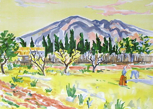 Manoel PILLARD - Grabado - Paysage des alpilles