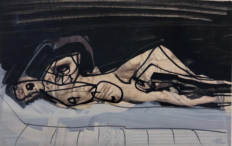 Antonio SAURA - Drawing-Watercolor - Superposition (Nu couché)