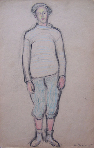 Henryk BERLEWI - Dessin-Aquarelle - Boy with Barett / Profile of a Man