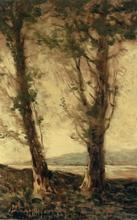 Henri Joseph HARPIGNIES - Painting - Deux peupliers au bord d'un étang