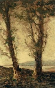 Henri Joseph HARPIGNIES - Gemälde - Deux peupliers au bord d'un étang