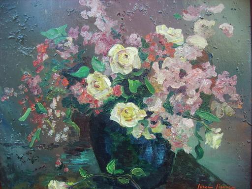 Serge SIEVIC - Peinture - FLEURS AU VASE BLEU
