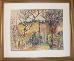 Jean DUFY - Disegno Acquarello - Les arbres après la tempête & Portrait présumé de Voltaire