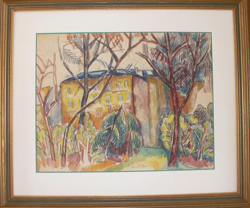 Jean DUFY - Dibujo Acuarela - Les arbres après la tempête & Portrait présumé de Voltaire