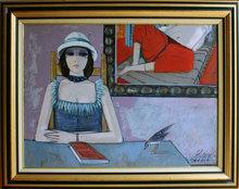Charles LEVIER - Painting - Femme à l'oiseau