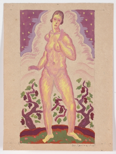 Josef LACINA - Dibujo Acuarela - Art Deco Female Nude, 1926, watercolor