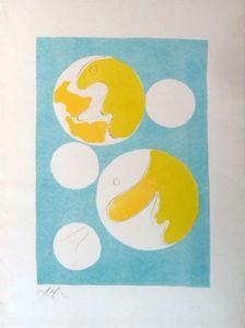 Hans ARP - Print-Multiple - Cinq lunes sur fond bleu