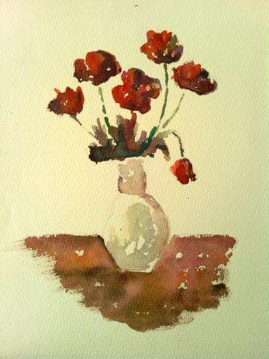 "Galina VINDALOVSKAIA - Drawing-Watercolor - ""Red flowers"" tulips"