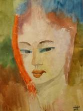 Béla KADAR - Drawing-Watercolor - Portrait of a Woman