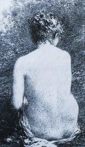 亨利·方丹·拉图尔 - 版画 - « Etude de femme assise, vue de dos »