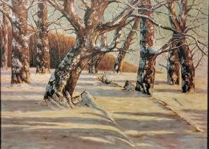 Friedrich WACHENHUSEN - Gemälde - Winterlandschaft, Waldrand am See