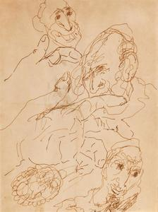 MANÉ-KATZ - Drawing-Watercolor - Hands and Heads of Jewish Portraits-double sides