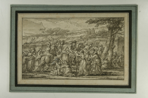 Joseph-Marie VIEN - Drawing-Watercolor - Le Départ pour la guerre, l'adieu des guerriers