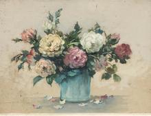 René LIGERON - Dibujo Acuarela - fleurs