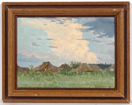 """Vladimir M. SINITSKI - Painting - """"Village Roofs"""", Oil Painting, 1950s"""