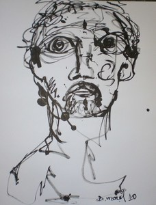 Bernard MOREL - Dessin-Aquarelle - TETE
