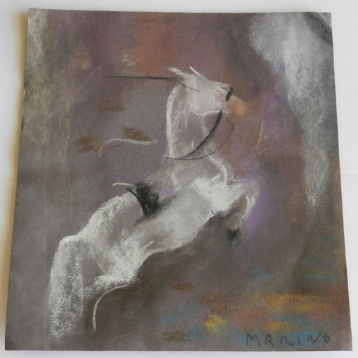 Marino MARINI - Drawing-Watercolor - Unruly frisking horse