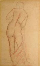 Aristide MAILLOL - Dibujo Acuarela - étude de femme debout