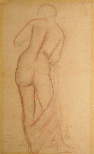 Aristide MAILLOL - Disegno Acquarello - étude de femme debout