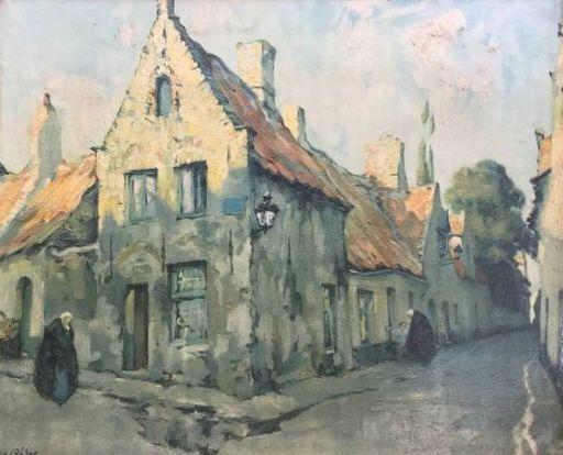 Julien CÉLOS - Peinture - straat in Brugge