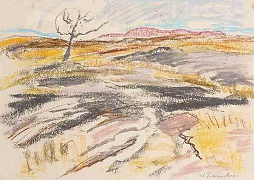 Willy EISENSCHITZ - Drawing-Watercolor - Afrikanische Landschaft