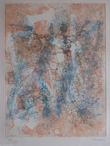 Camille BRYEN - Stampa Multiplo - GRAVURE ABSTRAITE DE 1974, SIGNÉE AU CRAYON