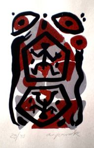 A.R. PENCK - Estampe-Multiple - Untitled 5