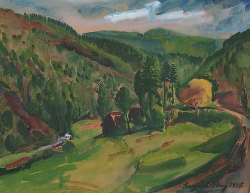 Harry Heinrich DEIERLING - Drawing-Watercolor - Ohne Titel (Schwarzwaldtal)