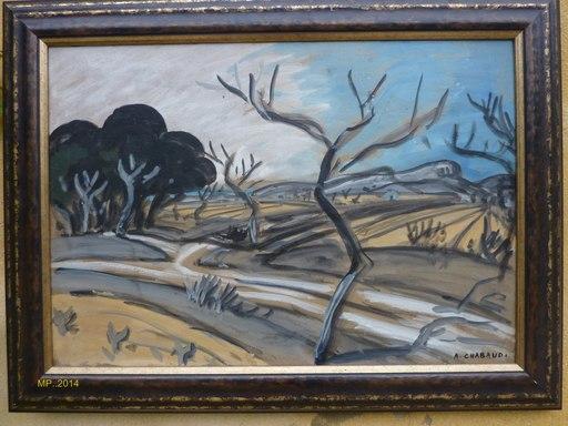 Auguste CHABAUD - Pittura - terre avec amandiers et pins à gauche