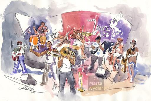 Märta WYDLER - Drawing-Watercolor - Trombone Shorty, 2011