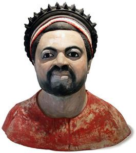 Sunday Jack AKPAN - Sculpture-Volume - Büste eines Häuptlings/Chiefs Bust