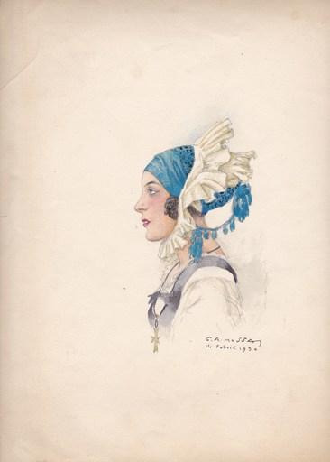 Gustave Adolphe MOSSA - Dibujo Acuarela - Jeune femme de profil