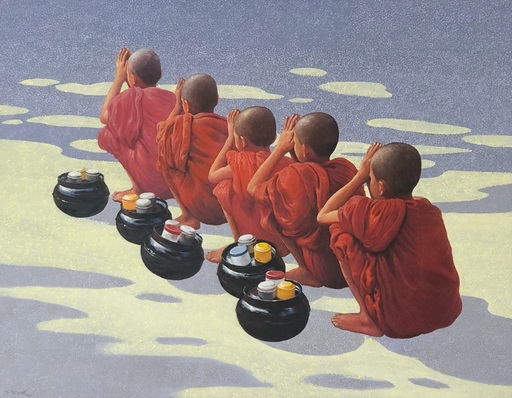 Tun Hlaing TIN - Painting - 5 Novices
