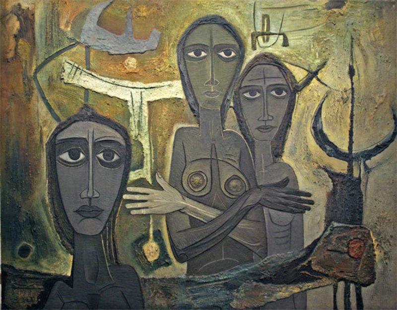 Laurent JIMENEZ-BALAGUER - Pittura - Composition aux 3 femmes