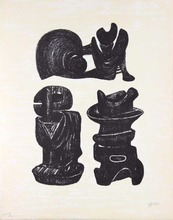 Henry MOORE - Stampa Multiplo - Three sculptural forms